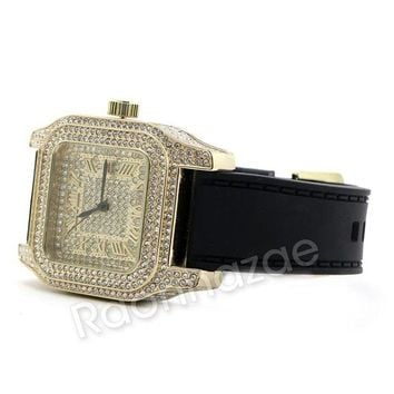 DCCKH7E Iced Out 14K Gold PT Square Shape Black Band Watch F67G