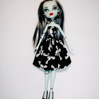Handmade Monster High Dress Clothes Strapless Skulls Black