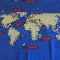 World Map Fabric, By the PANEL, Out To Sea, Nautical Map Panel in Boy Blue with yellow map