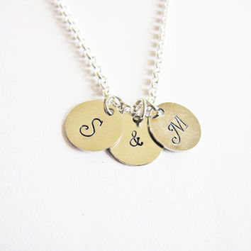 Two Initials Necklace, personalized necklace, ampersand necklace, engraved necklace, hand stamped necklace, minimalist necklace, 2 letters &