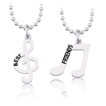 Trendy DIY Note Necklace For Women Best Friends Forever Pendant BBF Silver Musical Necklaces&Pendants Unisex Gifts Drop Shipping