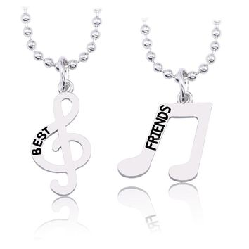 2pcs/set Minimalist Simple Fashion Musical Note Pendant Necklace Women Best Friends Forever Silver Music Jewelry Drop Shipping