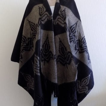 Black Brown Cape,Tribal Poncho Outerwear,Brown Coat Women Clothing Fashion Accessories Women Wear Aztec Poncho Ethnic Poncho Tribal Poncho