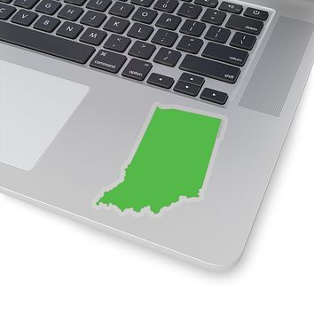 Indiana State Shape Sticker LIME GREEN