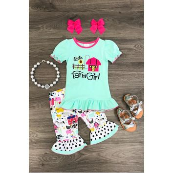 "Mint ""Little Farm Girl"" Kids Capri Set"