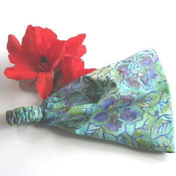 Flower Batik Fabric Headband Yoga Hair Head Wrap Womens Gypsy Bandana Teal Purple Blue