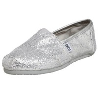 Toms Women's Classic Glitter Canvas Silver Glitter Low Top Canvas Flat Shoe - 7M