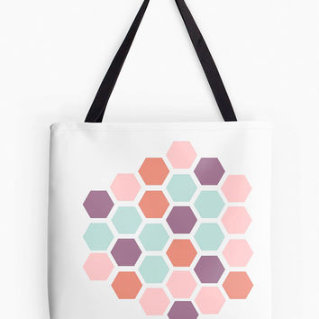 Pastel Honeycomb Tote Bag Geometric Hexagon Purse Coral Aqua Pink Purple Peach Mint Mod Fashion Bee White Gift Idea Modern Girl Women School