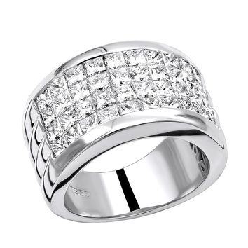 5 Ctw Mens Platinum Princess Cut Diamond Wedding Ring Band