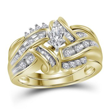 10kt Yellow Gold Womens Marquise Diamond Bridal Wedding Engagement Ring Band Set 1/2 Cttw
