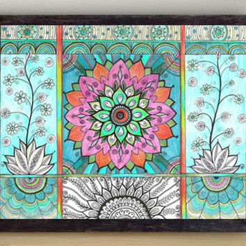 Turquoise Blue Wall Decor / Pink Mandala Art PRINT / Colourful Drawing / Ornamental Home decor / Floral Mandala / Beautiful Nursery art