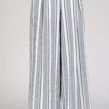 Day Dreaming Black White Vertical Stripe Pattern Elastic Waist Wide Leg Linen Loose Pants