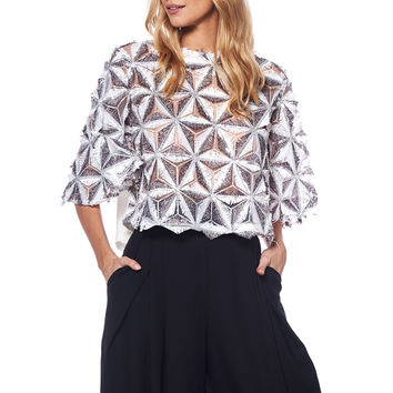 Lurex Beaded Pinwheel Crop Top T20524