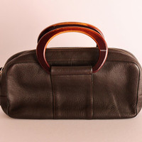 Vintage Krizia Clutch Bag, Krizia Brown Leather Bag, Authentic Krizia Vintage Clutch