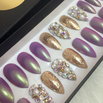 Purple Opalescent Stiletto Press On Nails | Swarovski Crystals | Gold Glitter | Fake Nails | False Nails | Bling Nails | Glue On Nails