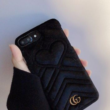 Furry GUCCI Cover Case for iPhone 6 7 8 PLUS XSMAX XR
