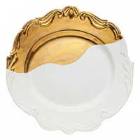 Oh So Fountainbleu Dipped Gold Ceramic Serving Platter