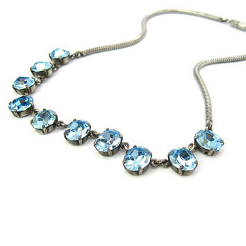 Blue Rhinestone Necklace. Sterling Silver Snake Chain Choker. Aqua Foil Crystals.  1940's Vintage Special Occasion Jewelry.