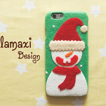 Handmade Snowman Phone Case, Christmas Snowman iPhone 6 / 6 Plus Case,  Felt Case for iPhone 4/4S/5/5S/5C, Custom Phone Case, Gift Idea