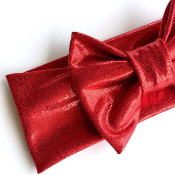 Red turban headband with bow, Valentine headband, Fourth of July turban