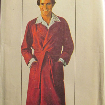Sale Uncut 1970's Simplicity Sewing Pattern, 7741! Size 38-40 Men's/ Robes/Bath Robes/House robes/Long Tie Belt Robes/Accessories/Terry Clot