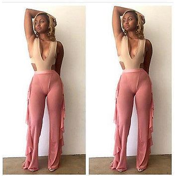 Women Beach Mesh Sheer Bikini Cover Up Full Length High Waist Beach Bathing Suit Pant Trousers