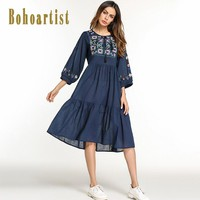 Bohoartist Women Casual Dresses Spring Tassel Embroidery Lace-Up Blue Bohemian O-Neck Indie Folk Ladies Trumpet Dresses 2018 New