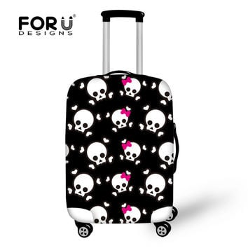 Cool Travel Accessories Cartoon Skull Print Travel Bag Cover Smooth Fabric Waterproof Protective Cover for 18-30 inch Suitcase