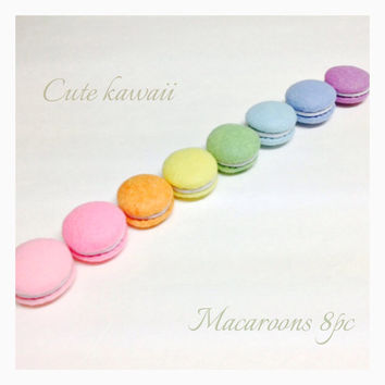ETSY Pretend food- Play food- Felt food Tokyo Kawaii Sweets Macaroons new colors (8pc)