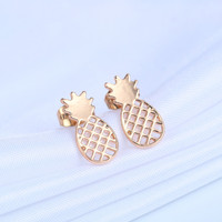 Boho Gold Tiny Pineapple Post Earrings