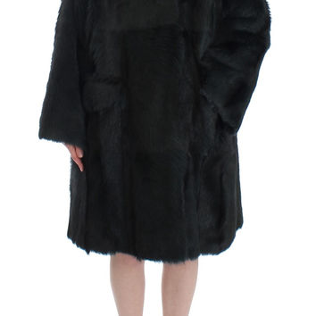 Dolce & Gabbana Black Goat Fur Shearling Long Jacket Coat