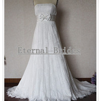 Strapless Empire Waist Lace A-line wedding dress with a bow in under bust/ plus size wedding dress