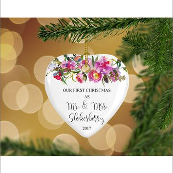 Personalized Floral Our First Christmas as Mr. & Mrs. Christmas Ornament- Wedding Ornament - Christmas Gift Ideas - HO0009