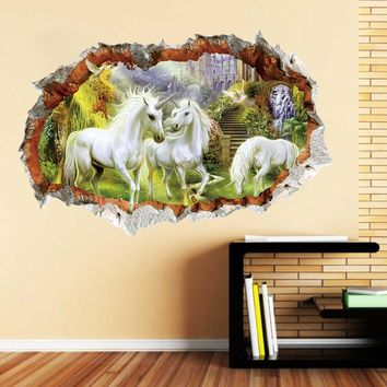 White Horse Views 3D Broken Wall Sticker Vinyl Decal Home Room Decor Art Mural (Color: Multicolor)