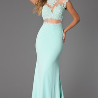 Illusion and Lace Floor Length JVN by Jovani Dress