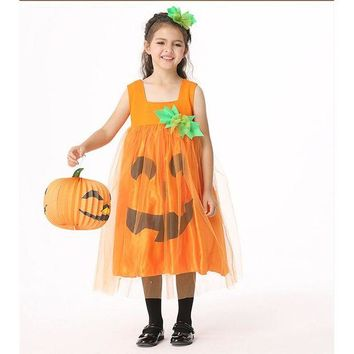 DCCKH6B Lovely Cute Girls Kids Pumpkin Halloween Cosplay Costumes Carnival Fancy Dress Outfits For Children Masquerade Clothes Headwear