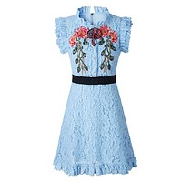 GUCCI New fashion embroidery floral gem lace vest dress women Light Blue