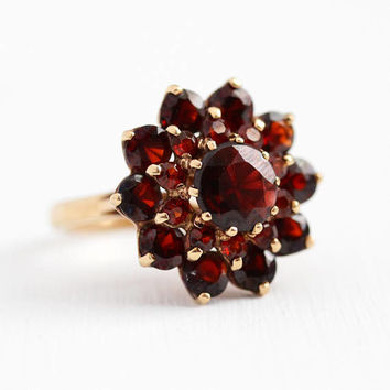 Vintage Garnet Ring - 10k Yellow Gold Genuine Dark Red Gem Flower Cluster Statement - Retro Size 6 January Birthstone Halo Big Fine Jewelry