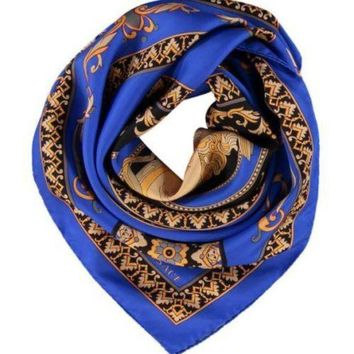 LMFONG6 Autenthic VERSACE Blue Silk Paisley Pattern Scarf