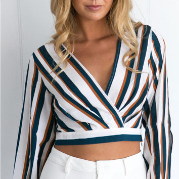 Stripe V-neck Long Sleeve Cropped Blouse