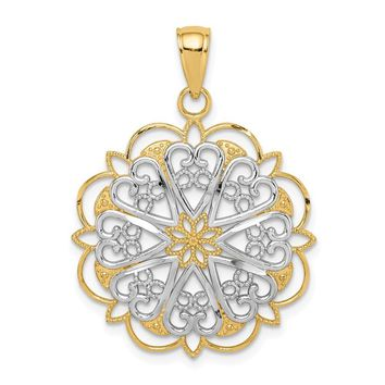 14K Yellow Gold & White Rhodium Filigree Hearts Pendant, 25mm (1 inch)