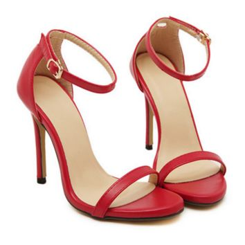 Fashion Summer Women Open-Toed Stripe Contracted Heel-Strap Sandals Red