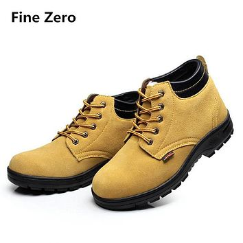 Fine Zero mens winter warm plush Anti-smash Anti-Puncture steel toe caps working safety shoes male bota tooling ankle snow boots