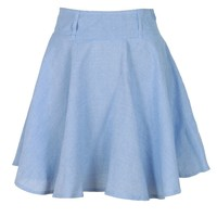 Light Blue Denim Look Skater Skirt