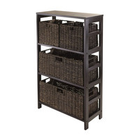 Granville 5 Piece Storage Shelf with 2 Large & 2 Small Foldable Baskets, Espresso