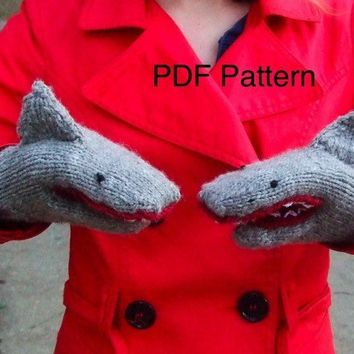 PDF Knitting Pattern Shark Mittens
