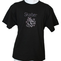 Ice Skating T-shirt  Skater Rhinestone Tee.  Embroidered Ice Skates design and Rhinestone Bling.  Perfect for those who love the sport.
