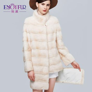 ENJOYFUR Genuine Mink Fur Coats Thick Warm Mink Coat For Winter Women's High-End Quality Real Fur Coat Sleeve And Hem Removed