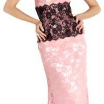 Strapless Lace Prom Bridesmaid Long Dress