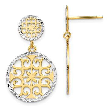 2-tone Diamond-cut Circle Drop Earrings in 14k Yellow Gold and Rhodium